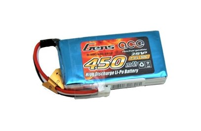 Gens Ace Li-pol 7.4V 450mAh, 30C, 2s1p, JST - B-30C-450-2S1P