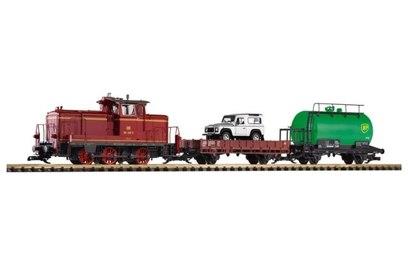 Стартовый набор Piko масштаб G (садово-дачный): дизельный локомотив V60 с 2 вагонами - PIKO37140