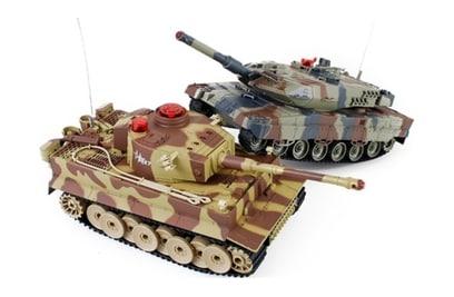 Танковый бой Huan Qi Tiger vs Abrams 1:24 27Mhz vs 40Mhz