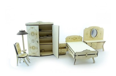 Конструктор 3D деревянный подвижный Lemmo Набор мебели спальня - МЕ-7