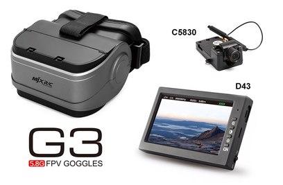 FPV очки для квадрокоптеров MJX + монитор D43 и камера C5830 - G3S
