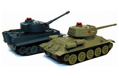 Радиоуправляемый танковый бой Huan Qi Т34 и Tiger масштаб 1:32 RTR